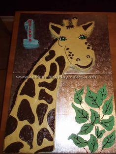 Coolest Giraffe Birthday Cake Photo Gallery and Cake Decorating Ideas Giraffe Birthday Cakes, Giraffe Cupcakes, Giraffe Birthday Parties, Giraffe Cookies, Giraffe Party, Safari Theme Birthday, Diy Birthday Cake, Baby Boy First Birthday, Homemade Birthday Cakes