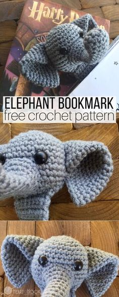 Webster the Elephant Bookmark Amigurumi Crochet Pattern http://hearthookhome.com/webster-the-elephant-bookmark-amigurumi-crochet-pattern/?utm_campaign=coschedule&utm_source=pinterest&utm_medium=Ashlea%20K%20-%20Heart%2C%20Hook%2C%20Home&utm_content=Webster%20the%20Elephant%20Bookmark%20Amigurumi%20Crochet%20Pattern