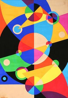 Circle Composition 1947.  Etienne (István) Beöthy (1897-1961) used overlapping geometric shapes and painted them in using bright colors and bold black. Hungarian-born draftsman, sculptor and painter Etienne was heavily involved in the Paris art scene after settling there in 1925. His work was influenced by Constructivism, Suprematism, Orphism and the Golden Section. Beöthy was a founding member of Abstraction-Création along with Auguste Herbin and Georges Vantongerloo.