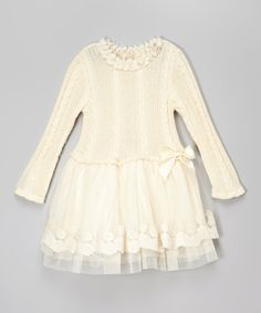 Another great find on #zulily! Frills du Jour White Cable-Knit Sweater Dress - Toddler & Girls by Frills du Jour #zulilyfinds