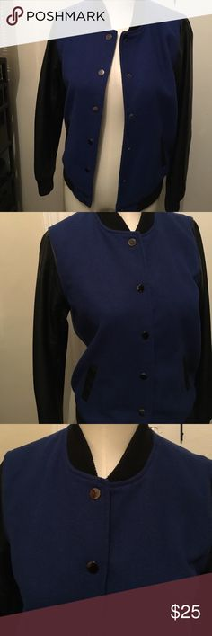 Bomber jacket Blue jacket with imitation leather sleeves and snap buttons. Forever 21 Jackets & Coats