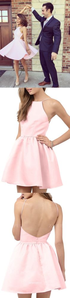 2016 short pink homecoming dress with open back, dancing dress, backless homecoming dress, cute dress for homecoming only sell $69.99