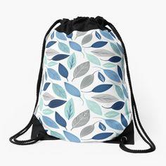 Backpack Bags, Drawstring Backpack, Blue Leaves, Custom Bags, Leaf Prints, Woven Fabric, Floral Design, Backpacks