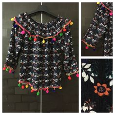 Buy yours today: Colorful Pom-Poms..., visit http://ftfy.bargains/products/colorful-pom-poms-printed-navy-blue-orange-white-flowers-on-off-shoulder-top?utm_campaign=social_autopilot&utm_source=pin&utm_medium=pin  #amazing #affordable #fashion #stylish