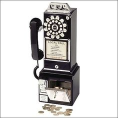 1950's Style Pay Phone in Black  $99.99  Available at www.bellarosadesigns.com