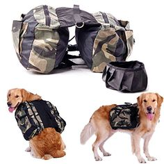 CozyCabin Dog Saddlebag Backpack Harness Carrier Camouflage Adjustable Style Dog Accessory Pack Hiking Camping Training Travel Outdoor for Medium and Large Dogs(Free Travel Bowl Included) (L) -- Click image for more details.