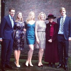 Princess Alexandra with her family. James Ogilvy, Zenouska Mowatt, Flora Ogilvy, Julia Ogilvy, Princess Alexandra, and Alexander Ogilvy, I assume.