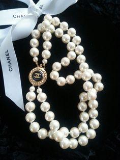 Authentic Chanel CC Button Pearl Necklace Vintage Double Strand