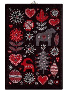 """Towel """"Christmas Night"""" from Ekelund Linneväveri"""