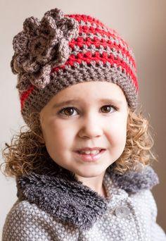 Striped bow beanie girl flower crochet beanie hat by LapofLuxury, $17.00