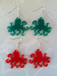 Mr Octopod Laser Cut Earrings. £2.00, via Etsy.    geek,chic,fashion,jewelry,accessories,fickle queen, nerd, ring, bracelet, necklace, kawaii, kitsch, cute, awesome, romance, kawaii, home, wonderland, books, quirky, statement, candy, food,