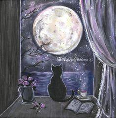 New moon cat Lost, America And Canada, Art Original, Tattoo Blog, Moon Art, Black And Grey Tattoos, Drawing, Full Moon, Cat Art