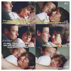 """""""Finn stays with Rachel to make her feel better. Finchel AU. Part 33/? Comment…"""
