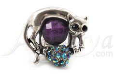 Запись Серебряный Фиолетовый Diamante Cat & Mouse Stretch Кольцо - avalaya.com