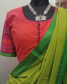 Cotton Saree Blouse Designs, Fancy Blouse Designs, Blouse Neck Designs, Linen Blouse, Sleeve Designs, Saree Jewellery, Saree Models, Designer Sarees, Cotton Blouses