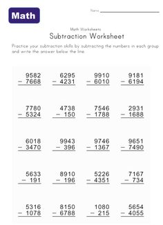 Sixth Grade Math Worksheets Addition 4th Grade Math Worksheets, Sequencing Worksheets, Sixth Grade Math, Printable Math Worksheets, Worksheets For Kids, Subtraction With Regrouping Worksheets, Addition And Subtraction Practice, Math In Focus, Math Notebooks