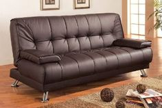 """Sofa: 76 1/2""""L x 36""""W x 36 1/2""""H. Sofa Bed: 76 1/2""""L x 47""""W x 21""""H. Finish: Brown. Material: Vinyl, Metal. Futon Sofa Bed with Removable Arm Rests in Brown Vinyl. Features brown vinyl with removable arm rests and metal legs. Soft cushion seat and back for more extra comfort. Item is suited to living space that every inch is precious. Assembly required."""
