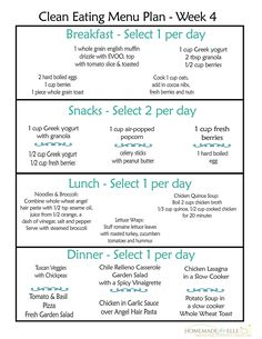 Clean Eating Menu Plan. A free weekly clean eating menu plan with breakfast, snack, lunch and recipes for dinner. Eat well, eat delicious, eat clean.