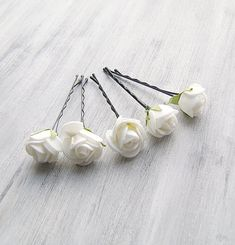 White  Flowers Bobby Pins, Roses Bridal Hair Pins, Woodland, Bridal Hair Clip, Flower Clips, Wedding Hair Accessory, set of 5 on Etsy, $20.00