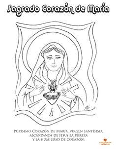 Dibujo para colorear. Sagrado Corazón de María. www.evangelizacioncatolica.com