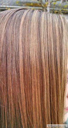 "Awesome 14"" Honey Blonde/Brown Virgin Hair, Fine + Dense"