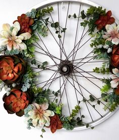 Bicycle Wheel Wreath, Succulent Wreath, Succulent Bike Wheel, Upcycled Bicycle Wheel, Upcycled Bicycle Wheel by GandRDesign on Etsy Bicycle Rims, Old Bicycle, Bicycle Wheel, Bike Wheels, Bicycle Shop, Wreath Hanger, Diy Wreath, Wreath Crafts, Wreaths
