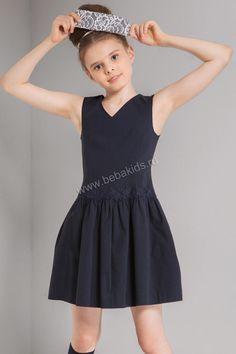 """Платье """"Кружево-вензель"""" для девочки 29526-411 синий Noble People"""
