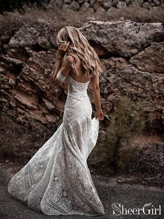 Ivory Lace Beach Wedding Dresses Sweetheart Neck Rustic Boho Wedding Dresses - Brautkleid a linie - Vestidos Wedding Dress Tea Length, Ivory Lace Wedding Dress, Wedding Dress Train, Sweetheart Wedding Dress, Country Wedding Dresses, Modest Wedding Dresses, Wedding Dress Styles, Bridal Dresses, Wedding Gowns