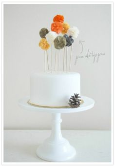 pom cake toppers - so cute!