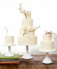 Sweet and Simple: 25 Wedding Cakes For the Minimalist Couple: Basic cakes are anything but boring when they are topped with lovely branches like these.  Photo by Jen Huang Photography via Style Me Pretty