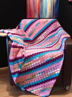 """Corner to Corner afghan made with: """"I Love this Yarn"""" in a variegated yarn and a few solid colors as well. Here is the link: http://thecrochetcrowd.com/cornertocorner/"""