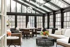 Dramatic and chic conservatory. Lighting are the Globus Pendants from Urban Electric. Beautiful Warm and Cozy Sunroom! Solarium Room, Conservatory Design, Conservatory Lighting, Casa Retro, Urban Electric, Contemporary Interior Design, Contemporary Apartment, Interior Modern, Contemporary Style