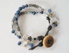 Labradorite Lapis Lazuli Aventurine and Freshwater Pearl Gemstone Bracelet by LostElephantDesigns on Etsy