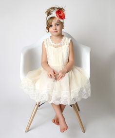 Another great find on #zulily! Cream Danish Pastry Lace Ruffle Dress - Toddler & Girls #zulilyfinds
