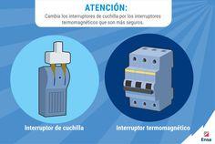 El interruptor termomagnético es más seguro porque protege a los cables eléctricos de sobrecargas y cortos circuitos #ConsejosEnsa