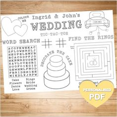 Customised Wedding Colouring Activity Page Placemat Printable PDF