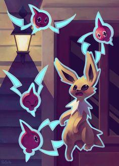 Eevee House - Jolteon and Rotom by Pombei Pokemon Gif, Ghost Pokemon, Pokemon Fan Art, Cool Pokemon, Pokemon Stuff, Type Pokemon, Pokemon Eeveelutions, Eevee Evolutions, Pokemon Universe