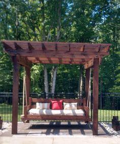 Ideas For Pergola Swing Bed Ropes Backyard Swings, Backyard Seating, Pergola Swing, Backyard Pergola, Nice Backyard, Porch Swing, Backyard Ideas For Small Yards, Small Backyard Landscaping, Small Gazebo