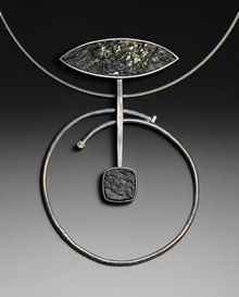 Necklace | Roger Rimel.  Pyrite in slate with black jade