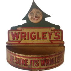 "Wrigley's Gum Tin Lithographed Counter Display ""Be Sure Its Wrigley's"""