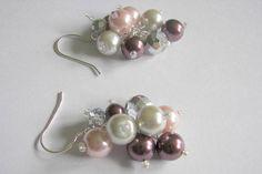 Plum Pearl Cluster Earrings Bridesmaid Pearl and Crystal
