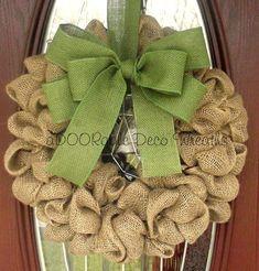 Simple Burlap Wreath by aDOORableDecoWreaths on Etsy, $49.99