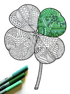 Lucky 4 Leaf Clover  PDF Zentangle Coloring Page  for St. Patrick's Day -by DJPenscript on Etsy