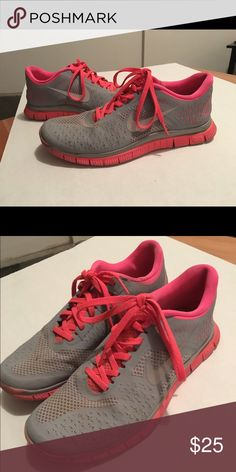 Gray/ Neon Pink Nike Women size 9 - hardly used. Very comfy Nike Shoes Athletic Shoes