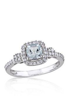 Belk  Co. Multi 10K White Gold Aquamarine and Diamond Ring