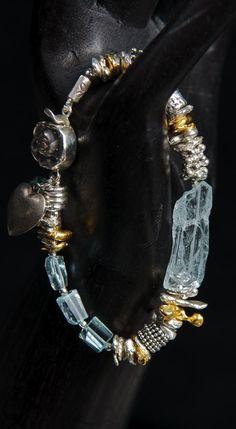 Sterling Silver, Aquamarine, Herkimer Diamond, Antique Sterling Heart Charm, 24K Gold Vermeil.