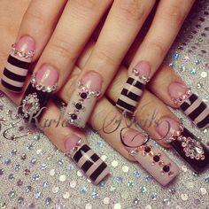 Beautiful Photo Nail Art: 20 Nail designs for long nails New Nail Designs, Beautiful Nail Designs, Beautiful Nail Art, Long Nail Designs Square, Pretty Designs, Crazy Nails, Fancy Nails, Trendy Nails, Fabulous Nails