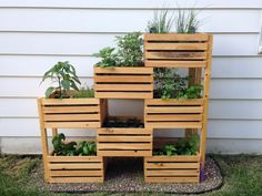 I was inspired by a project I saw at Home Depot and decided to make a raised herb garden.  Turned out great!   I used pre-made  wooden crates and attached some 2x2's to add strength to the structure.  We sprayed a wood sealant to protect it from the elements and lined the crates with landscape fabric to stop the soil from falling thru the slits in crates.  Make sure to puncture holes in the fabric so water can drain.  #citygarden #inspiration #homedepot