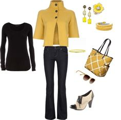 """""""Yellow and Black"""" by thetrendyhomemaker ❤ liked on Polyvore"""