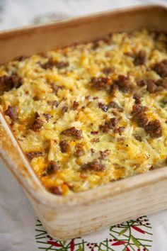 Sausage Hash Brown Breakfast Casserole - hash browns, sausage, eggs & cheese - can be made ahead of time and refrigerated until ready! Great for overnight guest and Christmas morning!